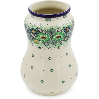 "Polish Pottery Vase 7"" Green Wreath UNIKAT"