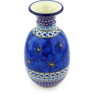 "Polish Pottery Vase 8"" Cobalt Poppies UNIKAT"