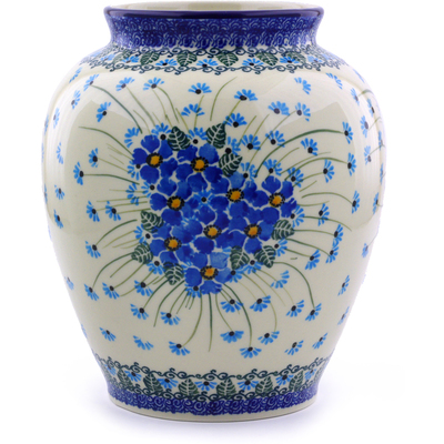 "Polish Pottery Vase 8"" Forget Me Not"