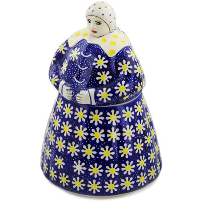 Polish Pottery Woman Shaped Jar 71 oz Daisy