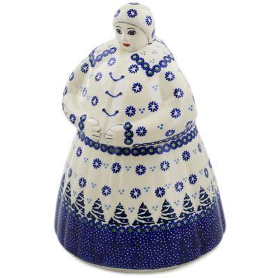 Polish Pottery Woman Shaped Jar 71 oz Falling Snowflakes