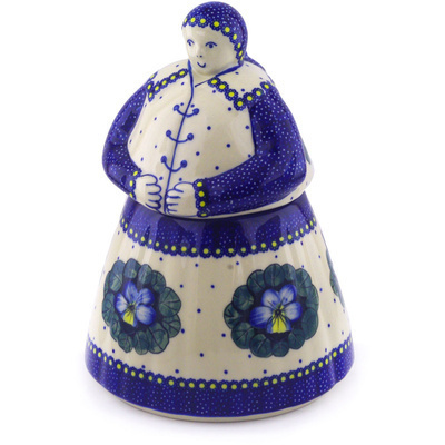 Polish Pottery Woman Shaped Jar 71 oz Flower In The Grass UNIKAT