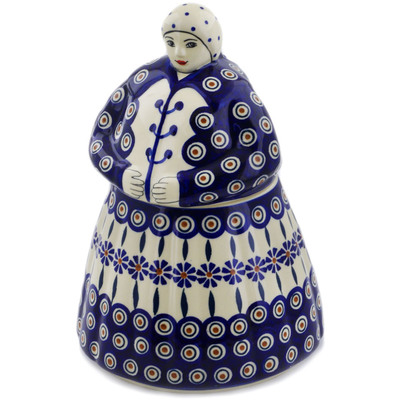 Polish Pottery Woman Shaped Jar 71 oz Peacock
