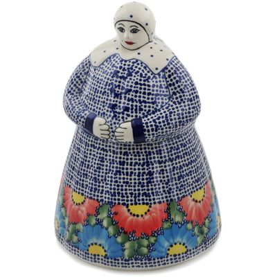 Polish Pottery Woman Shaped Jar 71 oz Spotted Garden UNIKAT