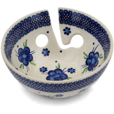 "Polish Pottery Yarn Bowl 6"" Bleu-belle Fleur"