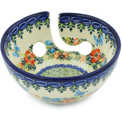 "Polish Pottery Yarn Bowl 6"" Ring Of Flowers UNIKAT"