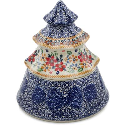 "Polish Pottery Christmas Tree 8"" Summer Bouquet UNIKAT"